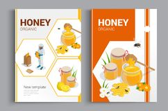 Organic raw honey designe brochure. Abstract composition. A4 brochure cover design of honey. Fancy title sheet model. Creative vector front page art. Banner vector illustration