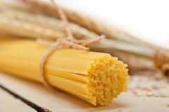 Organic Raw italian pasta and durum wheat. Grains crop royalty free stock photography