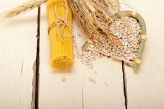 Organic Raw italian pasta and durum wheat. Grains crop royalty free stock image