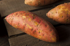 Organic Raw Sweet Potatoes Royalty Free Stock Photography