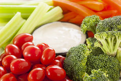 Organic Raw Vegetables with Ranch Dip stock image