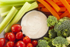 Organic Raw Vegetables with Ranch Dip Royalty Free Stock Photography