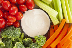 Organic Raw Vegetables with Ranch Dip Royalty Free Stock Photo