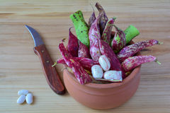 Organic red beans in clay pot Stock Photos