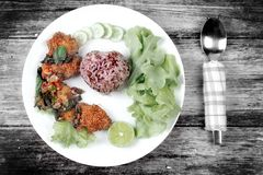 Organic red jasmine rice  with spicy sour fried chicken salad . Stock Image