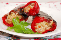 Organic red paprika with mince and rice. Some organic red paprika with mince and rice Stock Images