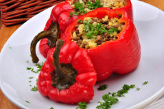 Organic red paprika with mince and rice Stock Image