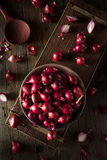 Organic Red Pearl Onions Stock Image