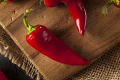 Organic Red Spicy Fresno Peppers Stock Photos