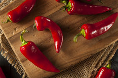 Organic Red Spicy Fresno Peppers Royalty Free Stock Images