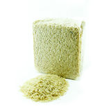 Organic rice in vacuum package, on  white background Stock Images