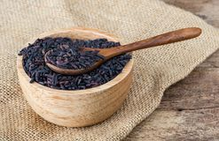 Organic riceberry in wood bowl with wood spoon on gunny sack cloth on wooden table. Raw deep purple organic riceberry in wood bowl with wood spoon on gunny sack Stock Photography