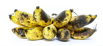 Organic ripe bananas white background Royalty Free Stock Photos