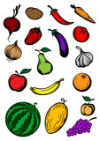 Organic ripe cartooned vegetables and fruits Royalty Free Stock Photography
