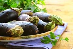 Organic ripe purple eggplant Royalty Free Stock Photo