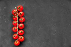 Organic Ripe Raw Cherry Tomatoes On A Long Branch On Black Texture Background. Free Space On The Right Side.