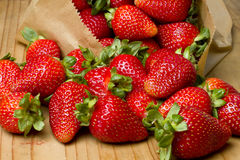 Organic ripe red strawberries Royalty Free Stock Images