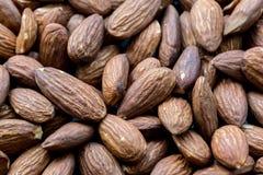 Organic roasted peeled almonds. Healthy food.
