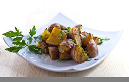 Organic roasted potatoes Royalty Free Stock Photography