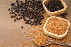 Organic rock  sugar and coffee bean Stock Photography