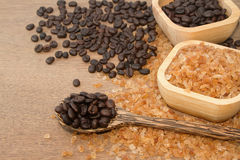 Organic rock  sugar and coffee bean Stock Photo
