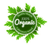 Organic round logo sign label with green leaves Royalty Free Stock Photos