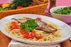 organic sardine on some tomato spaghetti Stock Photography