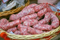 Organic sausages in an italian market Royalty Free Stock Photo