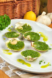 organic scallop and herbed butter on a plate Royalty Free Stock Image
