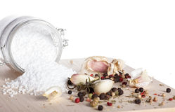 Organic sea salt and assorted spices Royalty Free Stock Photo