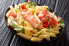 Organic seafood meal: a penne pasta with healthy lobster meat, t. Omatoes and fresh herbs close-up on a plate on a wooden table. horizontal stock photography