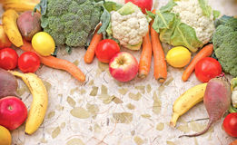 Organic seasonal fruits and vegetables Royalty Free Stock Images