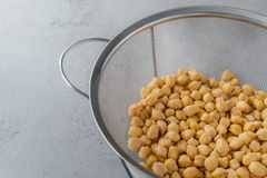 Organic seeds in sieve. Dry chickpeas for healthy eating. Overhead view. Nutrient dense food. Garbanzo beans containig lot of. Protein royalty free stock image