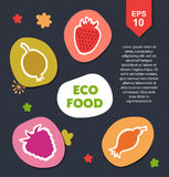 Organic set with eco food, berries. Vector ecology collection. Royalty Free Stock Images