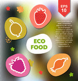Organic set with eco food, berries. Vector ecology collection on abstract background. Royalty Free Stock Photography