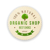 Organic shop paper label. Paper label with type design - 100 natural. Organic shop. Best choice. Since 2015 Stock Photos