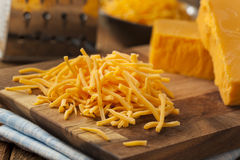 Organic Shredded Sharp Cheddar Cheese Royalty Free Stock Images