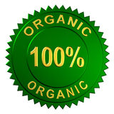 Organic Sign. Metallic seal with the words 100% Organic Stock Photography