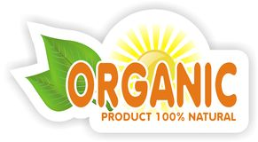 Organic sign. Simple organic sign light with a sun background Stock Photo