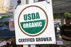 Organic sign. Organic Grower sign at a Farmers Market in Colorado Royalty Free Stock Photo