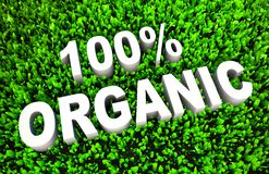 100% Organic. Sign on Natural Grass in 3D Royalty Free Stock Image