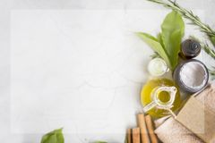 Organic skincare products flatlay with copy space Royalty Free Stock Photography