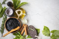 Organic skincare treatments and spa products with oil, mud, clay. Organic skincare treatment products with mud mask, clay mask, olive oil and essential herbal royalty free stock image