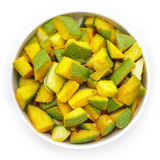 Organic sliced Indian Mango (Mangifera indica). Stock Photo