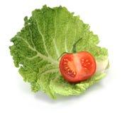 Organic Sliced Tomato on Cabbage Stock Photos