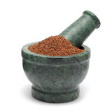 Organic Small Brown Mustard Seeds & x28;Brassica juncea& x29; on marble pestle. Royalty Free Stock Photo