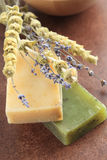 Organic soap. With lavender and sage stock image