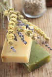 Organic soap. With lavender and sage Royalty Free Stock Photography