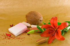 Organic Soap. Red lily, coconut, soap and red decorative sand on golden background Royalty Free Stock Photography