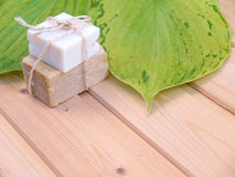Organic soap and green leaves with veins on the wooden planks Royalty Free Stock Photo